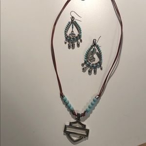Harley Davidson matching necklace and earrings